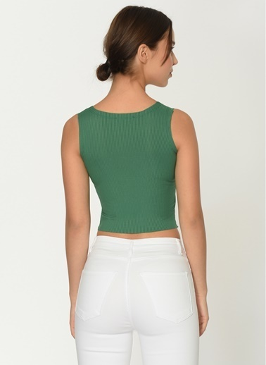 Loves You Çıtçıtlı Kalın Askılı Bluz Yeşil